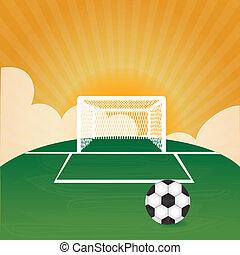 soccer design over landscape background vector illustration...