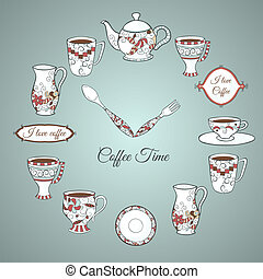 Invitation card Coffee Time - Vintage illustration of clock...
