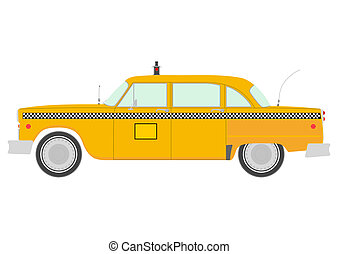 Taxi - Retro yellow cab silhouette.