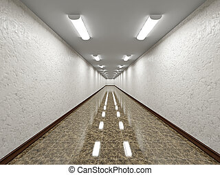 The empty long corridor with concrete wall