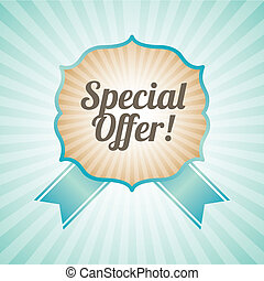 special offer over blue background vector illustration