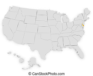 3d Render of the United States Highlighting Delaware
