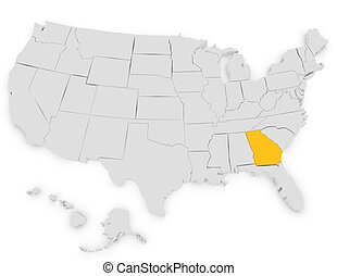 3d Render of the United States Highlighting Georgia