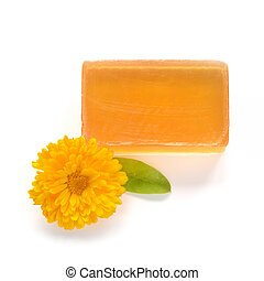 laranja, feito à mão, glicerina, sabonetes, branca