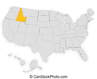 3d Render of the United States Highlighting Idaho