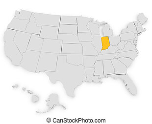 3d Render of the United States Highlighting Indiana