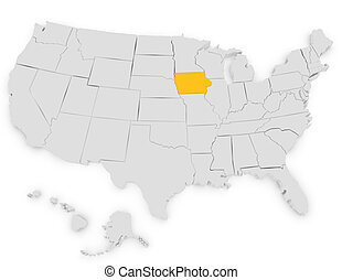 3d Render of the United States Highlighting Iowa