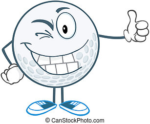 Winking Golf Ball Character