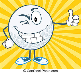 Winking Golf Ball Cartoon Character