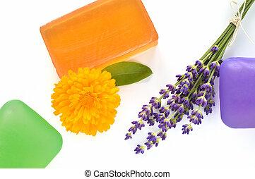 feito à mão, glicerina, Sabões, flores