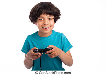 Cute Mixed Race Gamer. - Cute mixed race kid with gaming...