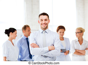 businessman in office - picture of smiling handsome...