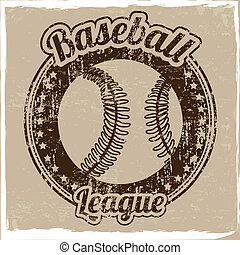 baseball league over vintage background vector illustration