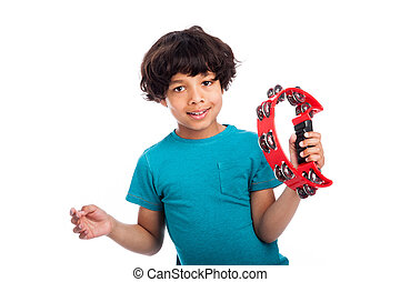 Cute Mixed Race Kid With Tambourine. - Cute mixed race kid...