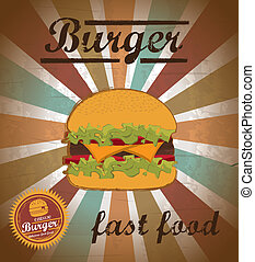 burger design over grunge background vector illustration