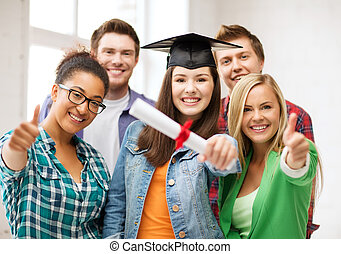 student girl in graduation cap with diploma - education -...