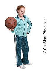 redhead child and basketball - a red headed girl with a...