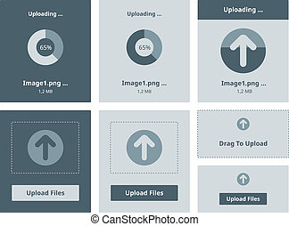 Upload vector interface - Vector illustration set of modern...