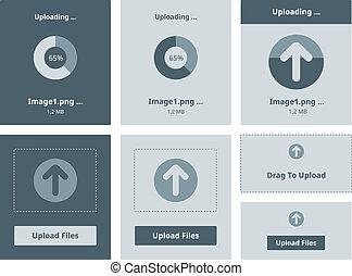 Upload vector interface - Vector illustration set of modern...