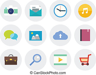 Modern flat icons set - Vector collection of modern icons in...
