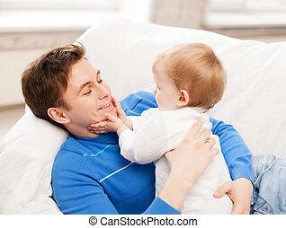 Feliz, pai, adorável, bebê