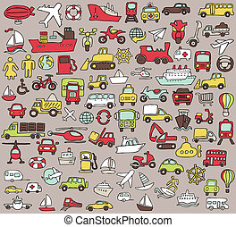 Big doodled transportation icons collection in colors Small...