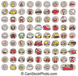 Collection of 80 transportation doodled icons vignette with...