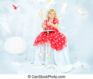 white red - Beautiful little girl dreaming with her red...