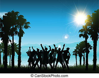 People partying in a tropical landscape