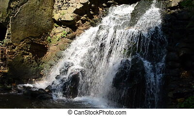 cascade water flow fall - closeup cascade river stream water...
