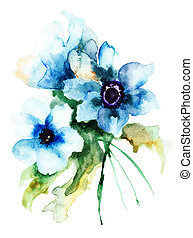 Summer blue flowers, watercolor illustration