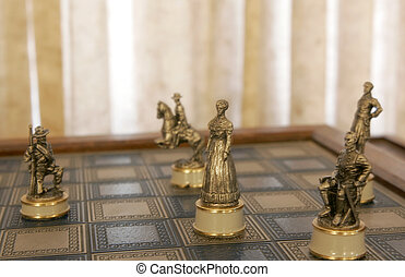 unique chess pieces - old antique civil war character chess...