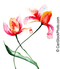 Stylized Tulips flowers, Watercolor painting