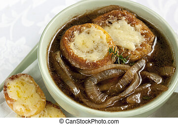 French Onion Soup - French onion soup, with cheesy croutons.
