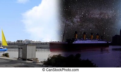 waterfront at day and night closeup - ships from all kind in...