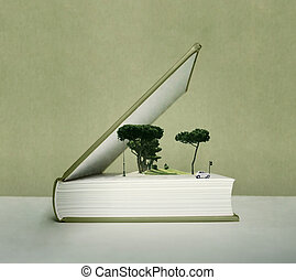 Pop up book - Artistic fantasy open book with the pop up...