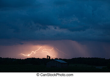 Crazy Lightening - Lightening strikes in a storm.