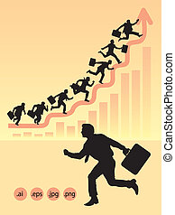 Businessman Running Silhouettes - Silhouette of running...