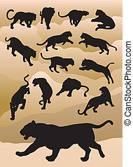 Tiger Silhouttes Vector - 14 Tiger, panther, leopard...