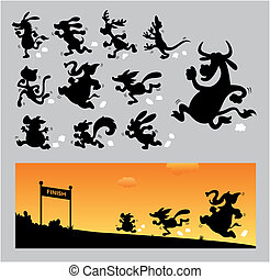 Cartoon Running Silhouettes - 11 Cartoon animal, donkey,...