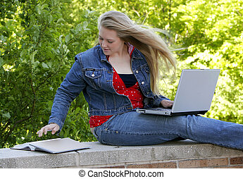 female college student - one young woman college student...
