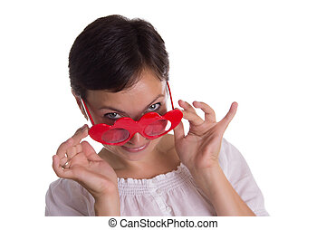 Surprised woman with funny glasses heart-shaped - Looking-up...