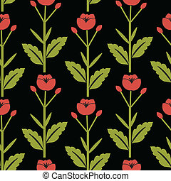 Floral pattern with red flowers