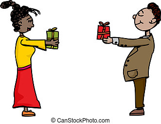 People Exchanging Gifts - Cute man and woman exchanging...