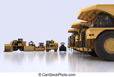 earth mover vehicles - 3D illustration of isolated earth...