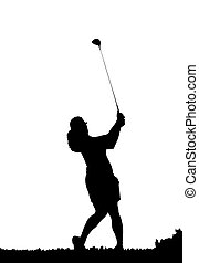 golf swing silhouette - silhouette of a female golfer...