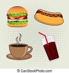 fast food over beige background vector illustration