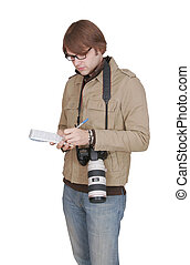 male journalist with notepad - one adult male reporter...