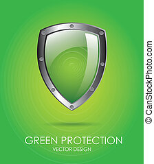 green protection - shiel protection over green background...