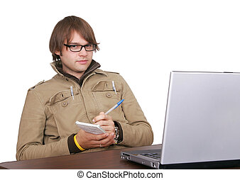 journalist guy with laptop computer - one man journalist...